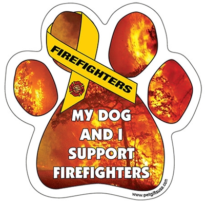 My Dog and I Support Firefighters Paw Magnet