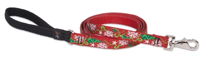 "Retired Lupine 3/4"" Christmas Cheer 6' Padded Handle Leash - Medium Dog"