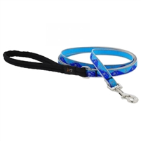 "Lupine High Lights 1/2"" Blue Paws 4' Padded Handle Leash"