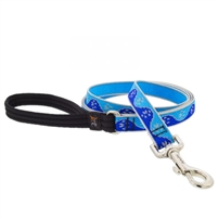 "Lupine High Lights 3/4"" Blue Paws 4' Padded Handle Leash"