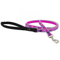 "Lupine High Lights 1/2"" Pink Paws 4' Padded Handle Leash"