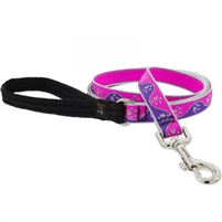 "Lupine High Lights 3/4"" Pink Paws 4' Padded Handle Leash"