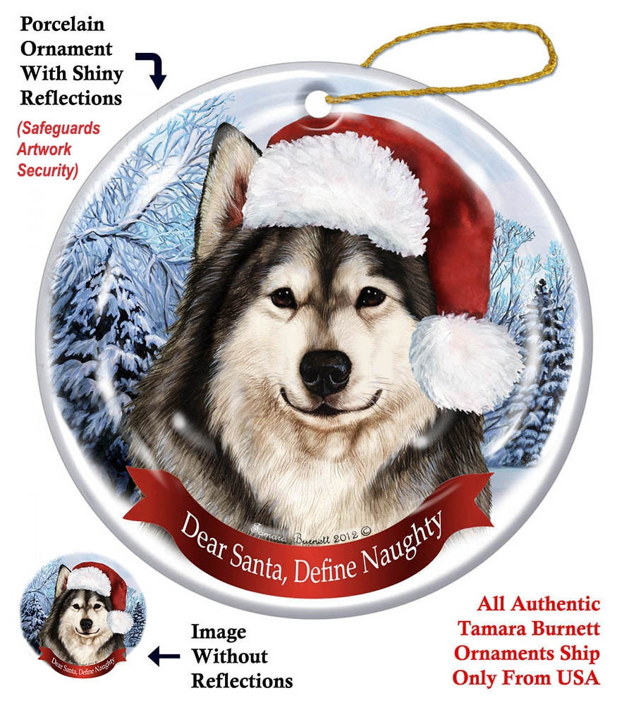 alaskan malamute holiday ornament made in the usa
