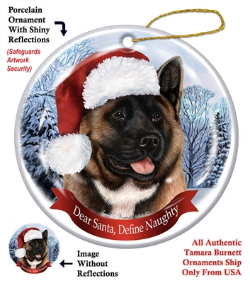 Akita (Black & Red) Holiday Ornament - Made in the USA