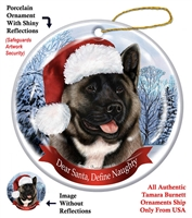 Akita (Silver & White) Holiday Ornament - Made in the USA