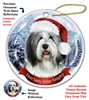 Bearded Collie Grey & White Holiday Ornament - Made in the USA