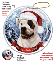 American Bulldog (Brindle Eye) Holiday Ornament - Made in the USA