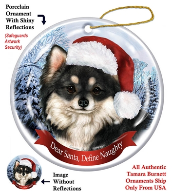 Chihuahua (Longhair Black & White) Holiday Ornament - Made in the USA