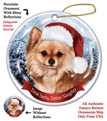 Chihuahua (Longhair Red) Holiday Ornament - Made in the USA