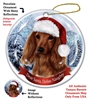 Dachshund Red (Longhair) Holiday Ornament - Made in the USA
