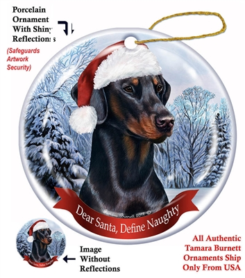 Doberman (Black) Holiday Ornament - Made in the USA