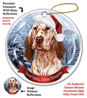 English Setter (Orange) Holiday Ornament - Made in the USA