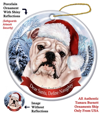 Bulldog (English) White Holiday Ornament - Made in the USA