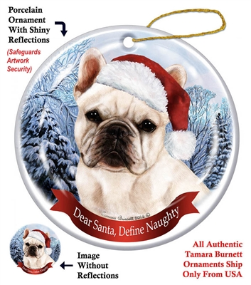 French Bulldog (White) Ornament - Made in the USA