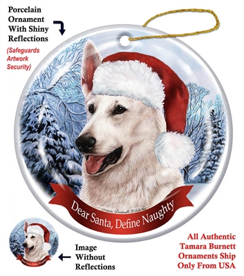German Shepherd (White) Ornament - Made in the USA