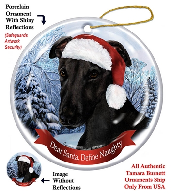 Greyhound (Black) Ornament - Made in the USA
