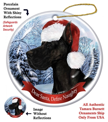 Great Dane (Cropped) Black Ornament - Made in the USA