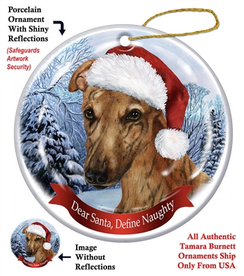 Greyhound (Red Brindle) Ornament - Made in the USA