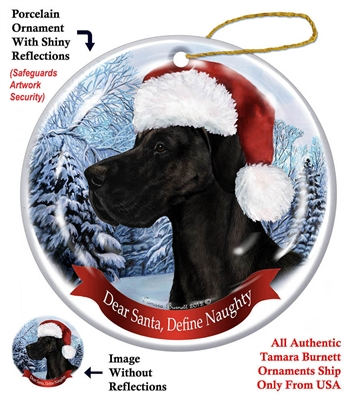 Great Dane (Uncropped) Black Ornament - Made in the USA