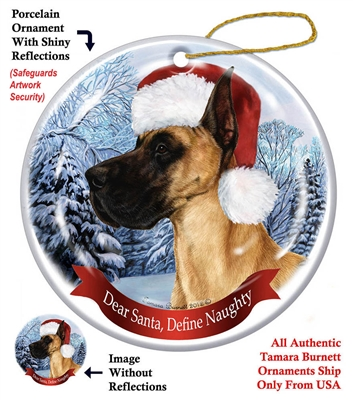 Great Dane (Cropped) Fawn Ornament - Made in the USA