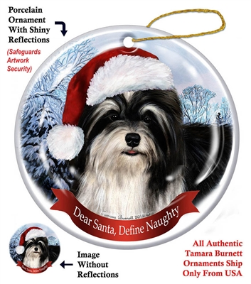 Havanese (Black & White) Ornament - Made in the USA