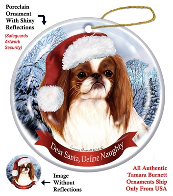 Japanese Chin (Red & White) Ornament - Made in the USA