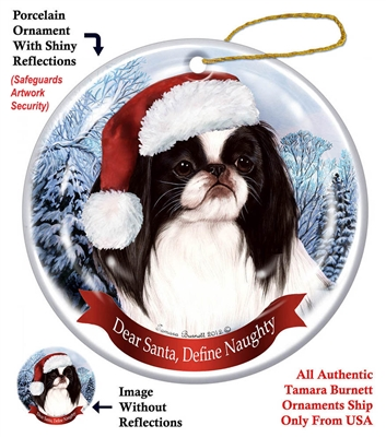 Japanese Chin (Black & White) Ornament - Made in the USA