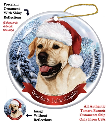 Yellow Labrador Holiday Ornament - Made in the USA