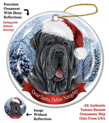 Neopolitan Mastiff Blue Uncropped Holiday Ornament - Made in the USA