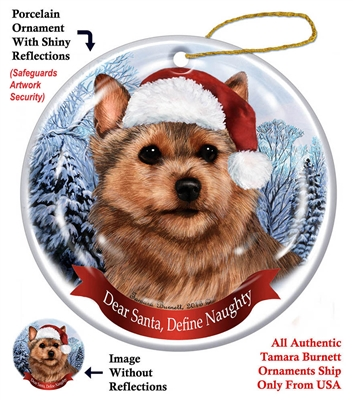 Norwich Terrier Holiday Ornament - Made in the USA