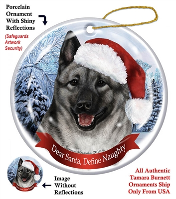 Norwegian Elkhound Holiday Ornament - Made in the USA