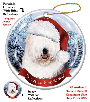 Old English Sheepdog Holiday Ornament - Made in the USA