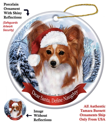 Papillon (Red & White) Holiday Ornament - Made in the USA
