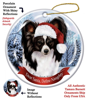Papillon (Black & White) Holiday Ornament - Made in the USA
