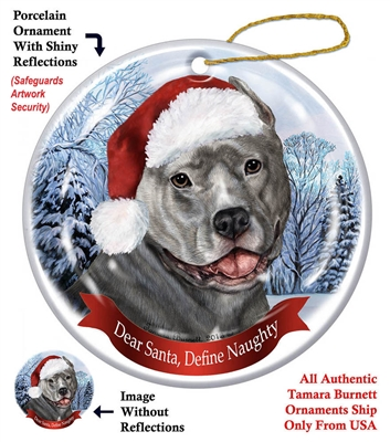 Pit Bull (Cropped Blue) Holiday Ornament - Made in the USA