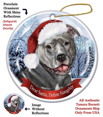 Pit Bull (Uncropped Blue) Holiday Ornament - Made in the USA