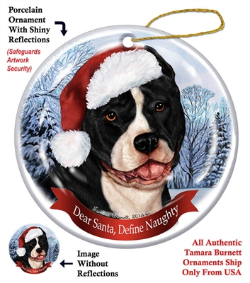 Pit Bull (Cropped Black & White) Holiday Ornament - Made in the USA