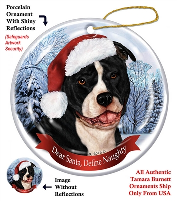 Pit Bull (Uncropped Black & White) Holiday Ornament - Made in the USA