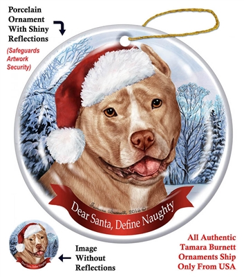 Pit Bull (Cropped Cream & White) Holiday Ornament - Made in the USA