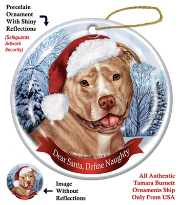 Pit Bull (Uncropped Cream & White) Holiday Ornament - Made in the USA