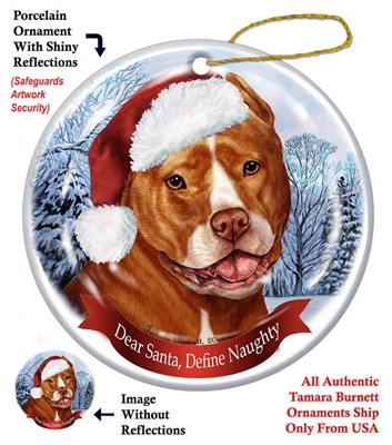 Pit Bull (Cropped Orange & White) Holiday Ornament - Made in the USA