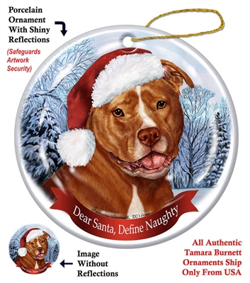 Pit Bull (Uncropped Orange & White) Holiday Ornament - Made in the USA