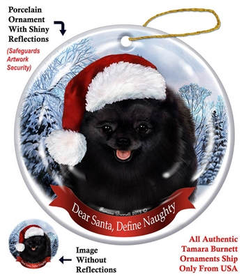 Pomeranian (Black) Holiday Ornament - Made in the USA