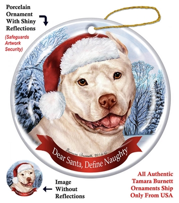 Pit Bull (Cropped White) Holiday Ornament - Made in the USA