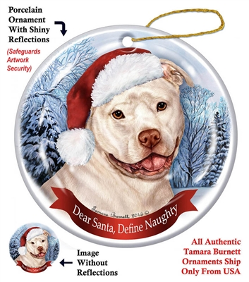 Pit Bull (Uncropped White) Holiday Ornament - Made in the USA