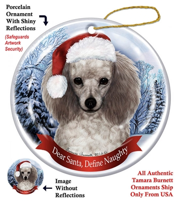 Poodle (Silver) Holiday Ornament - Made in the USA