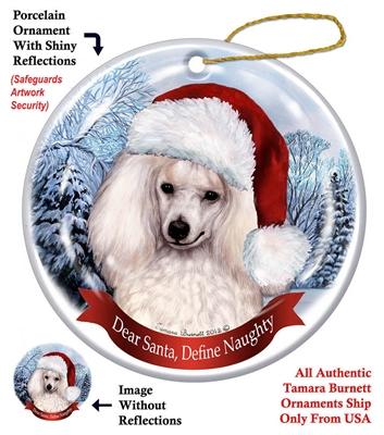Poodle (White) Holiday Ornament - Made in the USA