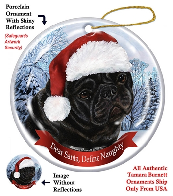 Pug (Black) Holiday Ornament - Made in the USA