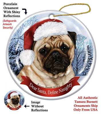 Pug Fawn Holiday Ornament - Made in the USA