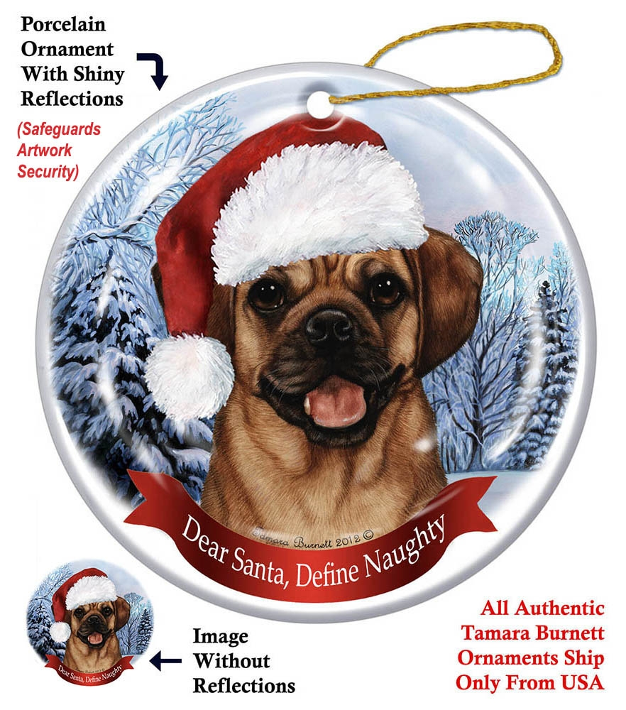 Shopping Menu - Puggle Holiday Ornament - Made In The USA